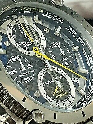 Bulova Precisionist Men's Quartz Chronograph Silver-Tone Bracelet Watch 96B175