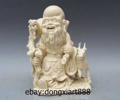"9"" China Dehua White Porcelain & Pottery god of longevity old Man Dragon Statue"