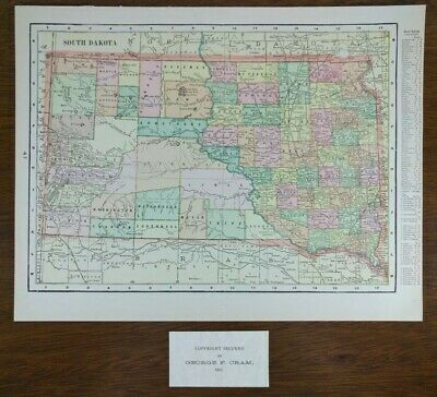 "Vintage 1903 SOUTH DAKOTA Map 14""x11"" Old Antique Original ABERDEEN BROOKINGS"