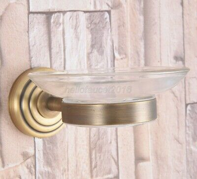 Bathroom Accessory Wall Mounted Antique Brass Glass Soap Dish Holder lba740
