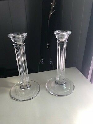 Tiffany & Co Crystal Greek or Roman Doric Column Candlestick Candle Holder Pair