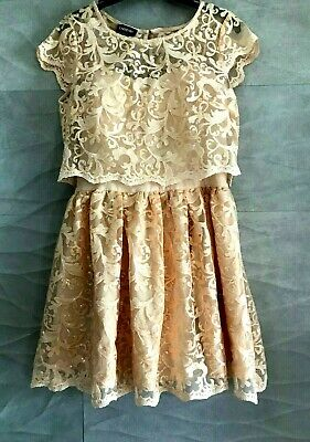 NWT bebe coral straps top flare lace sequin skirt floral mesh sexy dress S small