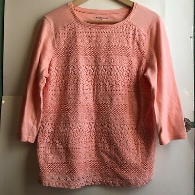 CROFT & BARROW Peach Light Pink Floral Lace 3/4 Sleeve Blouse Pullover Medium