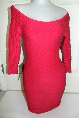 NWT bebe XXS XS S brigt pink textured off shoulder stretchy top dress bodycon