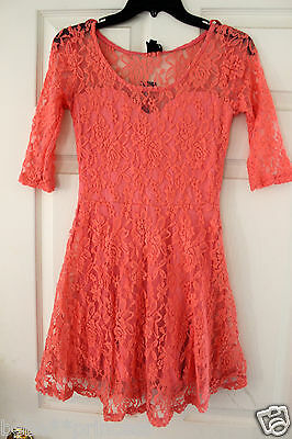 NWT bebe coral pink flare floral overlay lace party stretchy top dress L large