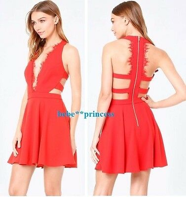 $149 NWT bebe red scallop lace trim flare deep v cutout top dress L large 10