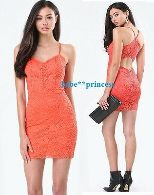 NWT bebe coral straps cutout back overall lace floral top dress L Large sexy