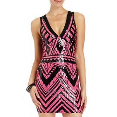 NWT bebe black pink v neck sequin mesh back top dress sparkly S small clubbing