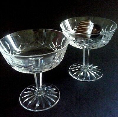 Set of 2 Waterford Crystal Lismore Champagne Sherbet Ice Cream Stemmed Glass