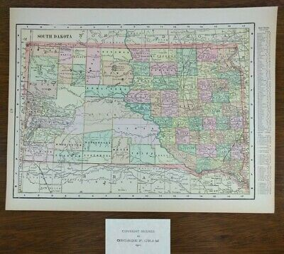 SOUTH DAKOTA 1902 Vintage Atlas Map 14x11 Old Antique Original STURGIS DEADWOOD