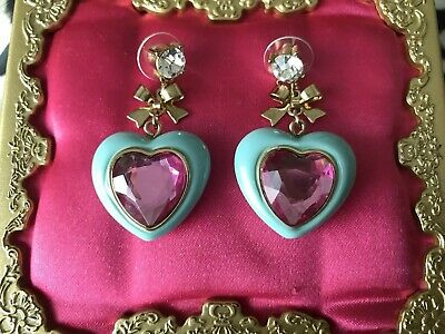 Betsey Johnson Candyland Candy Aqua Blue Lucite Pink Puffy Heart Earrings RARE