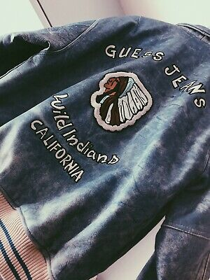 """Vintage OG 80's Guess """"Wild Indians CA"""" Leather Denim Dye Guess Jacket Polo RARE"""