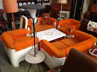 Mid century fibreglass 5 piece tub sofa couch coffee table settee chairs side