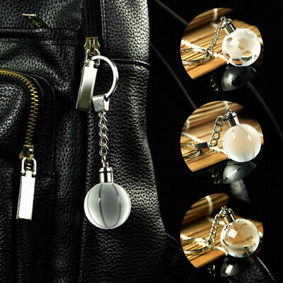 Crystal Ball 3D Engraved Key Chain Ring Keyring Keychain LED Glow-Pendant  dh