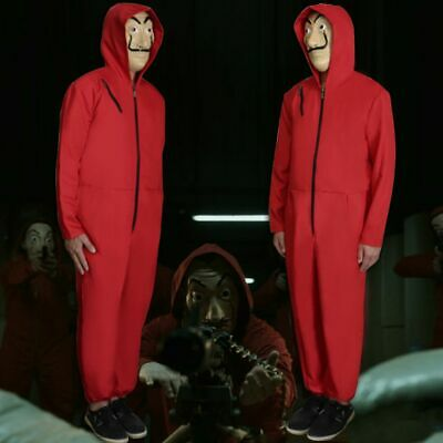 La Casa De Papel Cosplay Rouge Clown Combinaison Mask Salvador Dali Money Heist