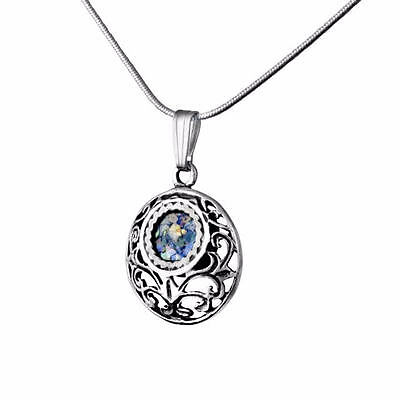 Beautiful New Sterling Silver Ancient Blue Roman Glass Pendant Round Necklace
