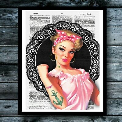 Tattoo Rockabilly Vintage Dictionary Art Print Pink Breast Cancer Awareneness