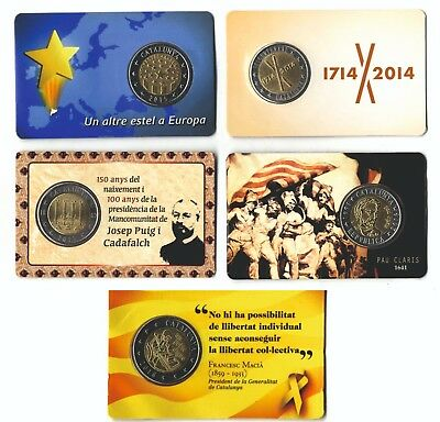 Sets 2 euros trial Catalunya years 2014-2015-2016-2017-2018 coins Catalonia