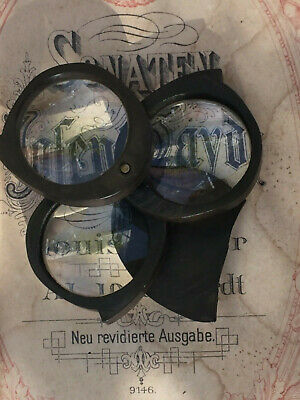 ANTIQUE/EARLY 20thC VINTAGE TREEN MAGNIFYING LOUPE- 3 X LENS- DAMAGED COVER