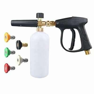 "1/4"" Snow Foam Lance Cannon w/ Water Sprayer Gun for Pressure Washer + 5 Nozzles"