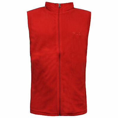 Fila Mens Gilet Bodywarmer Fleece Waistcoat Zip Up Top Red U89672 644 WHA
