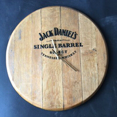 Solid Oak Whisky Barrel End Jack Daniel's Branded Wall Clock Vintage