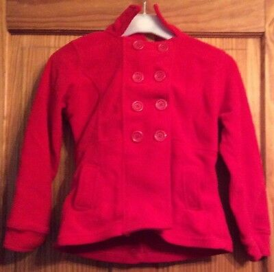 Red Lightweight Girls' Fleece Double Breasted Jacket With Hood 8 Years