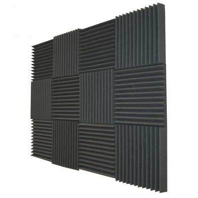 "12X Acoustic Foam Black Panel Tiles Wall Record Studio Sound Proof  12""x12""x1"""