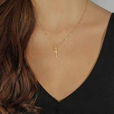 Women Small Cross Religious Chain Pendant Necklace Summer Jewelry UK Gold/Silver