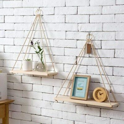 2X Rustic Solid Wood Rope Hanging Wall Shelf Vintage Storage Floating Shelf Home