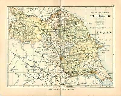 1893 Small Map Of The North And East Ridings Of Yorkshire