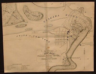 F.H. Johnson's New Map of Niagara Falls and River with Prominent Points 1850's