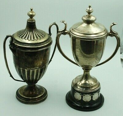 Two Large Antique Silver Plated Sporting Trophies