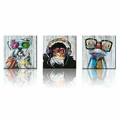 Decor Animals Canvas Wall Art Modern Gorilla Monkey Music Oil Painting