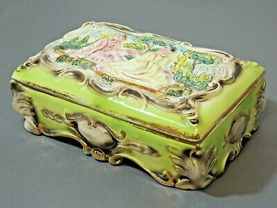 Ornate Ceramic Jewellery Box with a Couple in Garden Thames hospice W 107A
