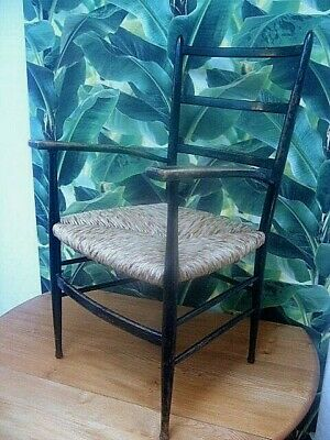 Original Morris & Co Sussex Chair Ebonised New Rush Seat Arts & Crafts - Deliver