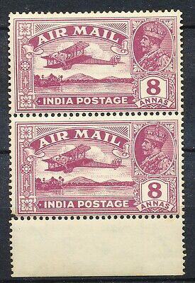 "INDIA 1929 8 Anna AIRMAIL MNH  - VARIETY 'Missing Tree-top"" ( £ 350.++)   Hk914a"
