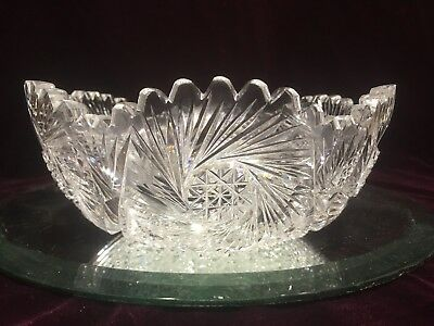 SIGNED RARE VTG. Antique Gundy, Clapperton Brilliant cut Crystal bowl 1905-1915