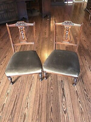 pair of nursing chairs. Green velvet upholstery, good condition No Reserve