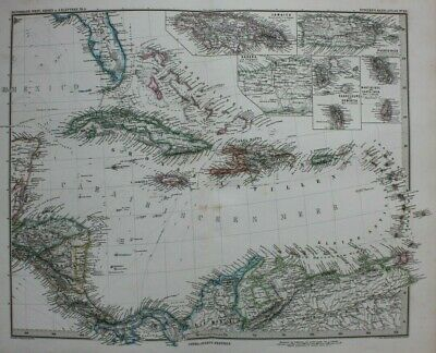 Original antique map CARIBBEAN, WEST INDIES, JAMAICA, CUBA, Stieler, 1886