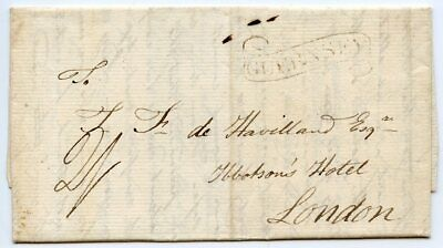 "1810 entire wrapper to London with ""Guernsey"" scroll h/s rated at ""2/-"""
