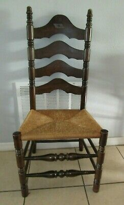Vintage ladder back chair with woven seat Walnut Dark Turned Wood Legs Excellent