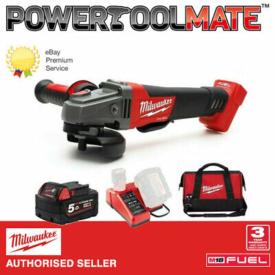 Milwaukee M18CAG115XPDB-501B 115mm Angle Grinder 18v - 1 x 5.0Ah Batteries, Char