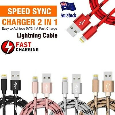 Braided USB Lightning Cable Cord Data for Apple Charger iPhone iPad 6 X 8 7 5S