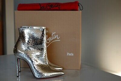 71f88d57990 CHRISTIAN LOUBOUTIN SILVER So Kate Mirror Snake Emboss Bootie Boot Shoes 7  / 37