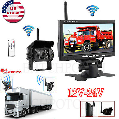"7"" LCD Monitor Wireless Rear View Backup Camera Night Vision for RV Truck Bus"