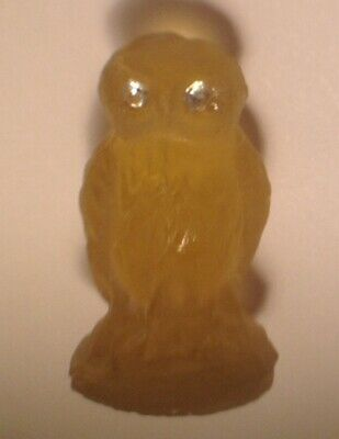 Vintage RARE Czech OWL Frosted Glass CHARM Mini Cracker Jack toy amber yellow