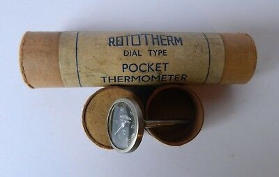 Vintage Rototherm Dial Type Pocket Thermometer in Tube
