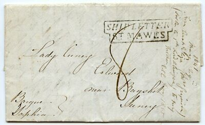 "RARE 1841 entire letter from Jamaica ""Ship Letter/St Mawes"" Cornwall handstamp."