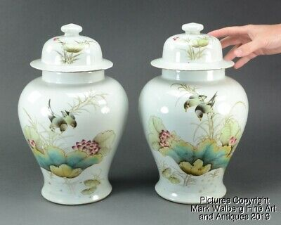 PAIR Chinese Famille Rose Porcelain Covered Vases, Birds & Lotus, 19/20th C.